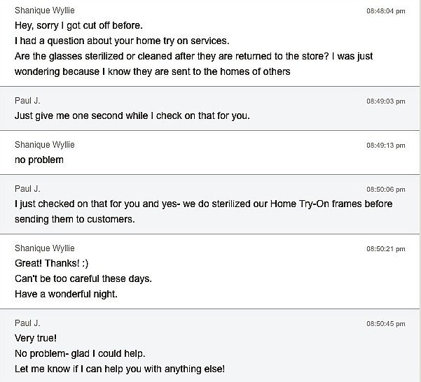 Warby Parker Chat Transcript