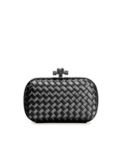 bottega veneta woven satin knot minaudiere clutch in black