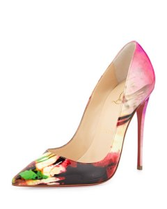 christian louboutin so kate tie-dye paten red sole pumps