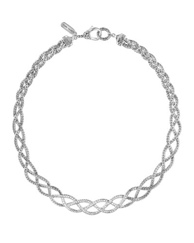 john hardy classic chain silver diamond pave collar braided necklace with diamonds
