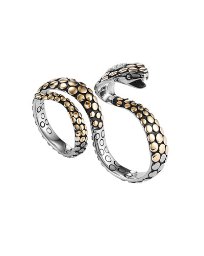 john hardy dot gold:silve knuckle snake ring