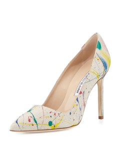 manolo blahnik bbmal splatter paint canvas pumps