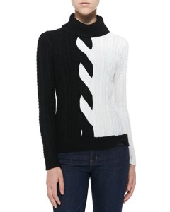 mlly two tone cable knit sweater