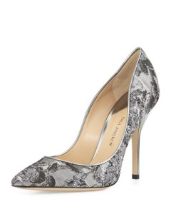 paul andrew metallic jaquard pump in silver