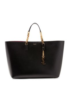 saint laurent monogramme double chain tote bag in black:fuchsia