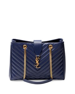 saint laurent monogramme matelasse shopper bag in navy