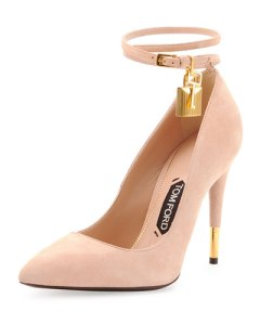 tom ford suede ankle lock pump in wild rose