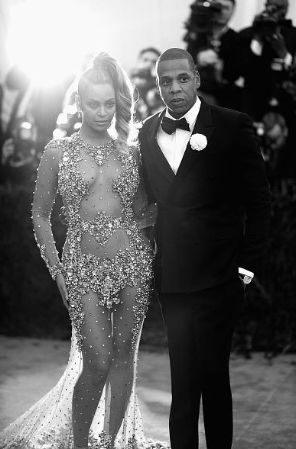 Beyonce and Jay Z at the Met Gala in black and white