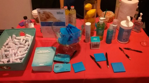 Bliss promotional table at NYC's Wedding Salon 2015 at the Affina Hotel