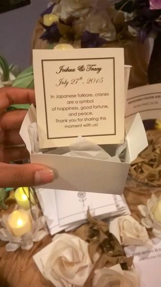 Joyce Kutty Designs Favor Box at NYC's Wedding Salon 2015 at the Affina Hotel